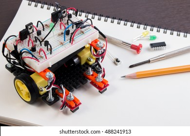 STEM or DIY Electronic Kit , Line tracking robot competition ideas. closeup.