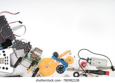 STEM or DIY science Kit set white background.