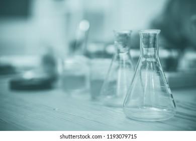 STEM education Laboratory beakers.Science experiment concept background.