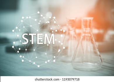 STEM education Laboratory beakers.Science experiment concept background.