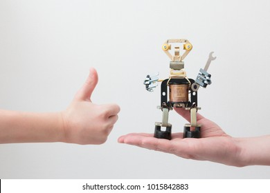 STEM education. Metal robots made by hands in a class in chemistry and robotics. STEM education. Background. Free bots. Technology. Mathematics. Science.