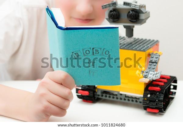 Stem Education Plastic Robot Class Engineering Stock Photo