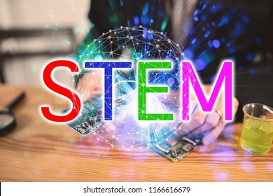 Stem educations,inventor school Creating robotics project,School boys planning of innovation robot model in laptop,microcontroller Circuit board Analysis assembly,DIY robot in science education class