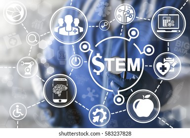 STEM medicine health care medicine concept. Science Technology Engineering Mathematics healthcare money education web technology. Doctor offer stem dollar sign on virtual screen. Sci-Tech healthy