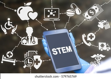 STEM science technology engineering mathematics medicine health care computing web education concept. Healthy learning medical engineering medtech technology on tablet computer