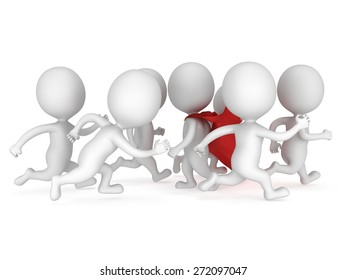 Stem the tide. Breast the current. Own way in business concept. ed superhero businessman walk against crowd of running usual men. Not like everybody else. 3d render isolated on white.