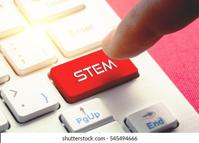 STEM word concept button on keyboard