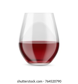 Stemless glass with red wine. Mock-up for products presentations