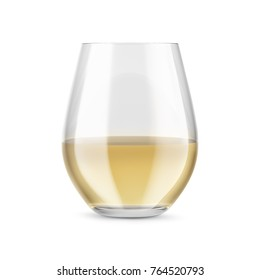 Stemless glass with white wine. Mock-up for products presentations