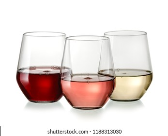 Stemless red, white and rose wine glasses