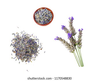 Stems and flowers of dried lavender. White background