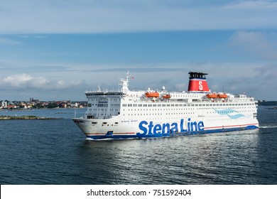 Stena Line owned Stena Spirit passenger ferry sailing off Karlskrona, Sweden, and heading to Gdynia, Poland, across Baltic Sea. 3 August 2017, Karlskrona, Sweden.