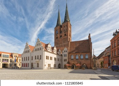Stendal, Germany - May 5, 2018: Town Hall, court house, St Stephens church and Roland statue at the Market Square of Stendal, Saxony-Anhalt