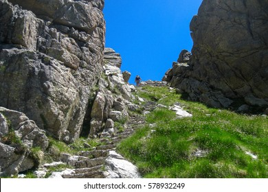 "Step of the bear towards the lake of Saburo. ""Chariots of fire"" trail. Pyrenees mountain, Spain"