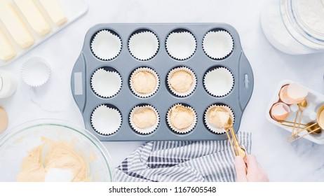 Step by step. Baking vanilla cupcakes in metal cupcake pan.