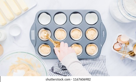 Step by step. Baking vanilla cupcakes in metal cupcake pan.