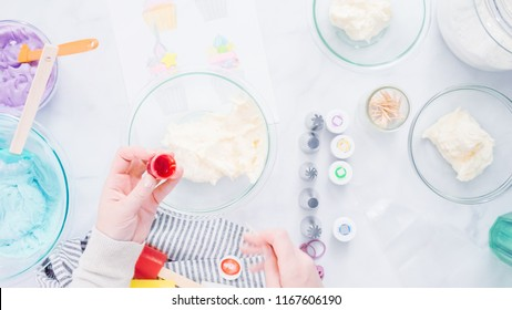 Step by step. Coloring buttercream frosting with food colors for unicorn theme vanilla cupcakes.