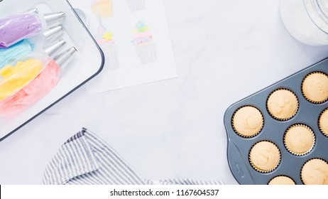 Step by step. Freshly bakes vanilla cupcakes.