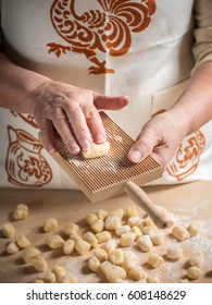 Step by step gnocchi making process. Woman making italian gnocchi. See series.