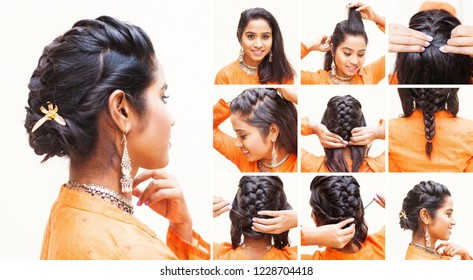 Step by step guide on how to make an evening hairdo for long and medium hair (Indian model)