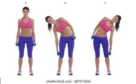 Step by step instructions for Side Bend With Dumbbells