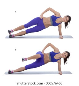 Step by step instructions: Side plank with a knee tuck