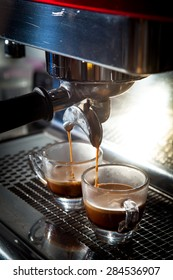Step by making coffee from coffee bean, Shot of espresso coffee