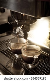 Step by making coffee from coffee bean, cup of coffee, vintage tone
