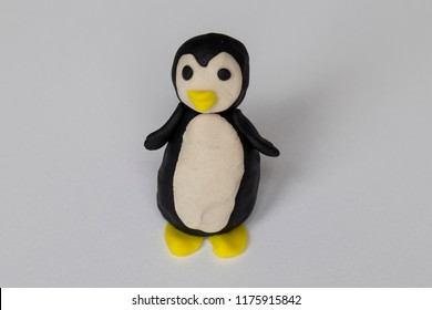 step by step making penguin with play dough for children's activity. school,nursery or kindergarten lesson plasticine concept.