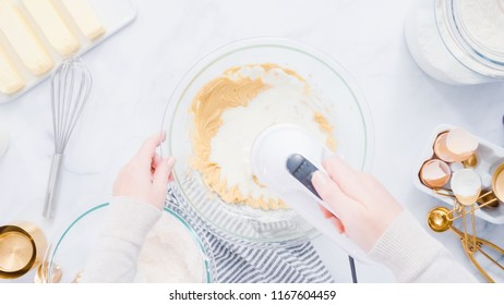 Step by step. Mixing ingredients for vanilla cupcakes.