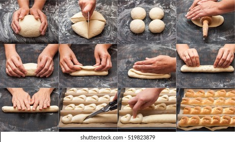 """Step by step preparation of bread. French baguette. Forming """"Tail of the Dragon"""". bread cooking. collage"""