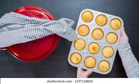 Step by step. Top view. Removing freshly baked cornbread muffins from metal muffin pan.