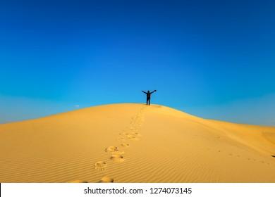 Step by step walking on Desert Landscape at Abqaiq Dammam Saudi Arabia.