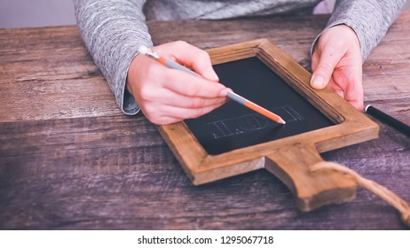 Step by step. Writing chalk board sign-Hot Chocolate Bar- for hot chocolate station.