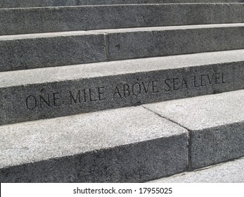 Step to the capital building marks one mile above sea level mark.