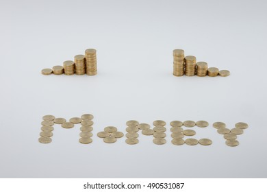 Step pile of gold coins with sort gold coins as money on white background.