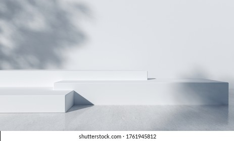 Step Podium for packaging presentation and cosmetic, shadow on wall. Product display with white concrete texture , stone texture, Natural beauty pedestal in sunlight. realistic rendering.