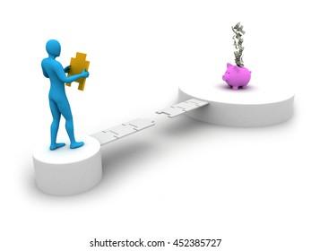 Step towards saving in Piggi Bank. 3d illustration