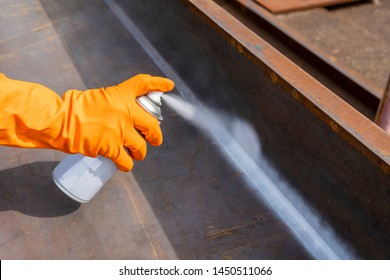 Step to use spray White Contrast on the welded surface before performing Non-Destructive Testing(NDT) with process Magnetic Particle Testing(MT).