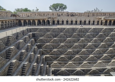 Step wells in Rajasthan India with zigzagging stairs down to the bottom to get water