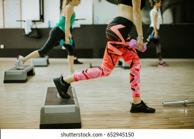 step workout. Women group fitness.