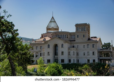 Stepanakert, Artsakh (Nagorno-Karabakh), 07 August 2017. National Assembly building in the government district of Stepanakert, capital city of the self-proclaimed Republic of Artsakh.