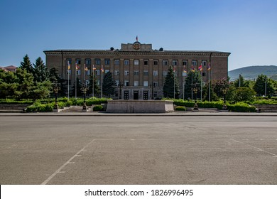 Stepanakert, Artsakh (Nagorno-Karabakh), 07 August 2017. Presidential Palace in the government district of Stepanakert, capital of the self-proclaimed Republic of Artsakh.