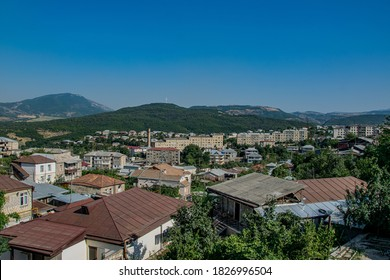 Stepanakert, Artsakh (Nagorno-Karabakh), 07 August 2017. View across the roofs of Stepanakert towards the mountains surrounding the capital city of the self-proclaimed Republic of Artsakh.