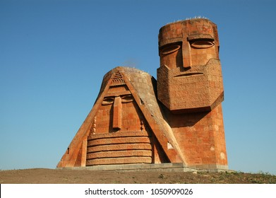"""STEPANAKERT, NAGORNO KARABAKH, ARMENIA - JULY 24, 2006: The """"We Are Our Mountains"""" monument in Artsakh was completed by Sargis Baghdasaryan, is widely regarded as a symbol of the Armenian heritage"""