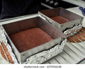 Step-by-step preparation of black designer cake. cooked chocolate sponge cake.
