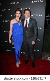 Stephanie March, Bobby Flay at Delta Airline's Celebration of LA's Music Industry, Getty House, Los Angeles, CA 02-07-13