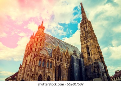 Stephansdom (St. Stephen's Cathedral) against cloudy sunny sky, Vienna, Austria, Europe