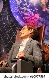 stephen Hawkins Professor, London, UK - March 20, 2017:  Stephen Hawkins figure museum London. theoretical physicist, cosmologist, author and Director of Research  Centre for Theoretical Cosmology