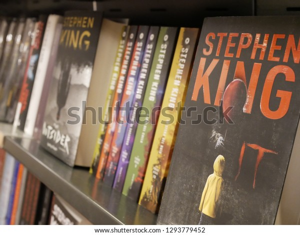 Stephen King writer Books for Sale in a Bookshop in the City Center in Milan,Italy January 2019